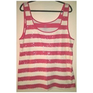 Tank Top SEQUINS pink white stripes Old Navy XXL